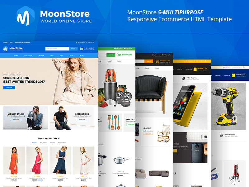 Moonstore - 5 Multipurpose Responsive Ecommerce HTML Template