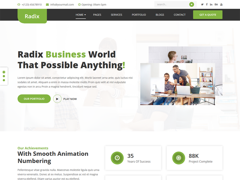 Radix -  Free Multipurpose Business & Consulting Template